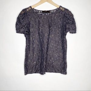 The Limited Lace Short Sleeve Top Navy L